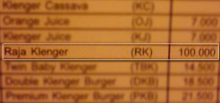 Harga Klenger, Burger Klenger
